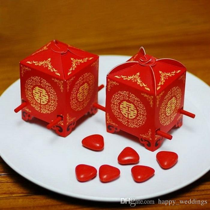 Free shipping Red Sedan Chair Favor Box Candy Gift Packing Boxes For Party