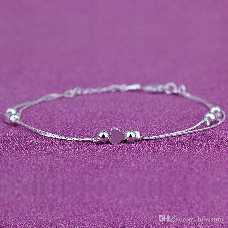 Anklets Silver Anklet Link Chain For Women Girl Hot Selling Foot Bracelets Fashion Jewelry Wholesale 0408WH
