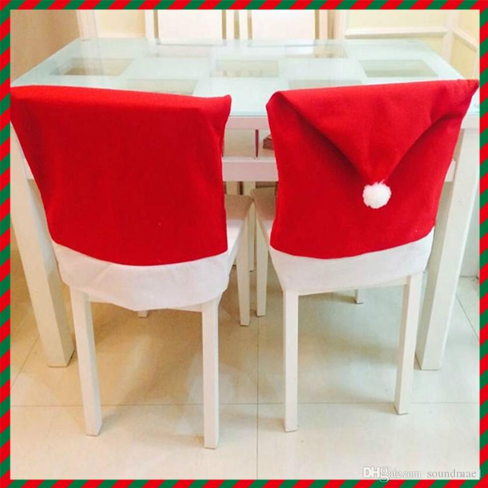 Christmas chair back covers -  Christmas Chair Decoration Fashion Santa Clause Red Hat Chair Back Cover Christmas Dinner Table Party Decor