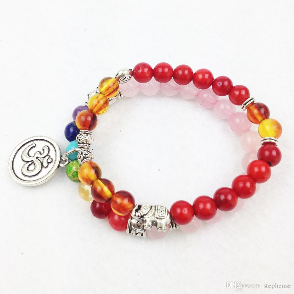 SN0191 Top Quality Red Coral Amber Beads Pulseira Luxuoso Yoga Pulseira 8mm Mala Contas Chakra OM Colar Charme Frete Grátis
