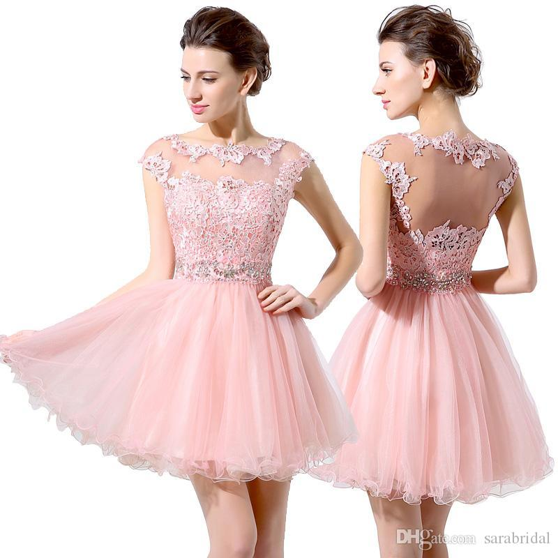 2016 Pink Hollow Back Short 8th Grade Prom Dresses Sheer Collar Lace