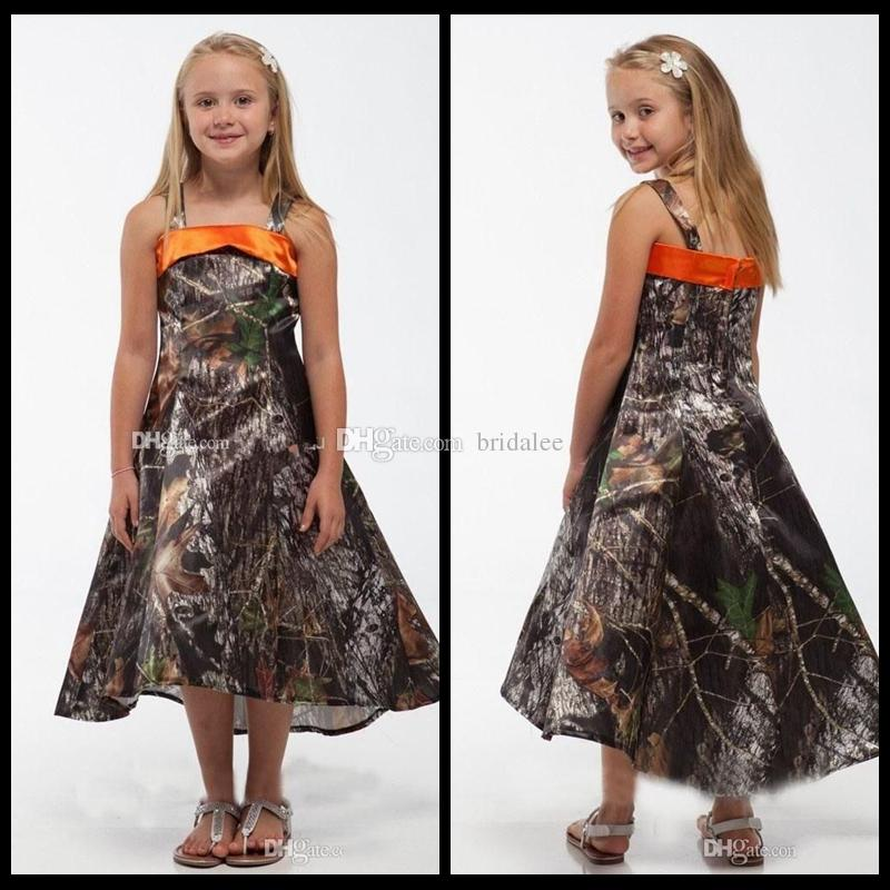 d822cb4b91a New Fashion Spaghetti A Line Realtree Camo Flower Girls Dresses High Low  Camouflage Formal Wear Kids Children Toddler Pageant Party Gowns Evening  Dresses ...