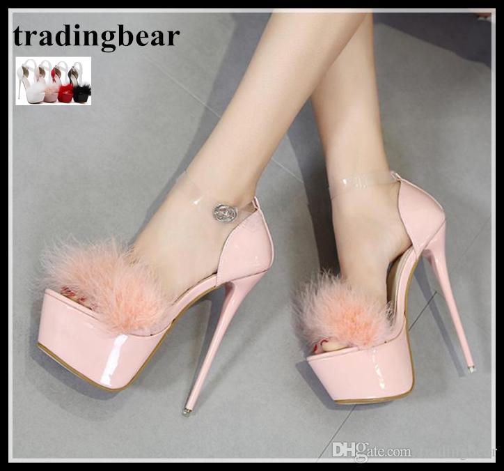 055a9f217d8 Luxury fur platform high heels ankle strap shoes prom wedding jpg 724x676 Fur  platform heels