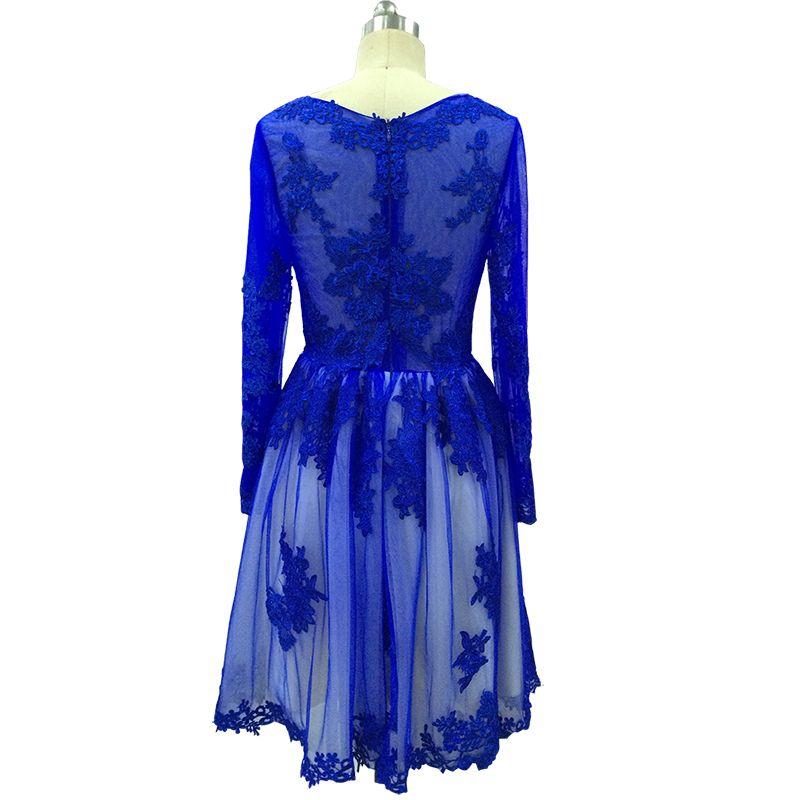 Vinoprom Vestidos De Festa Vestido Longo A-Line Jewel Long Sleeves Lace Tulle Cocktail Homecoming Party Dresses