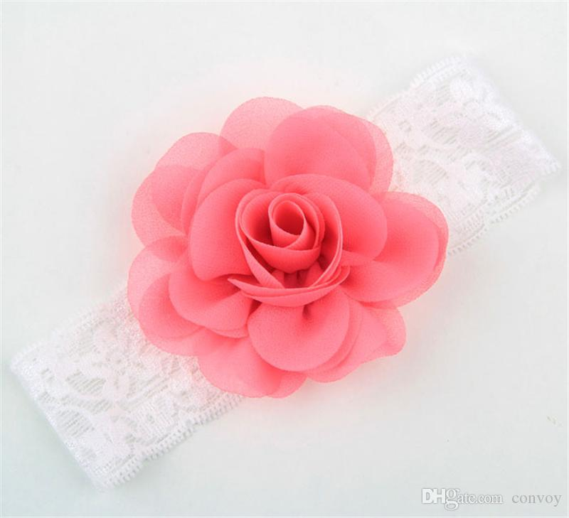 NEW Girls Kids Wide Lace Chiffon Flower Headbands Baby Elastic Rose Hairbands Infants Hair Accessories Princess Headdress KHA344
