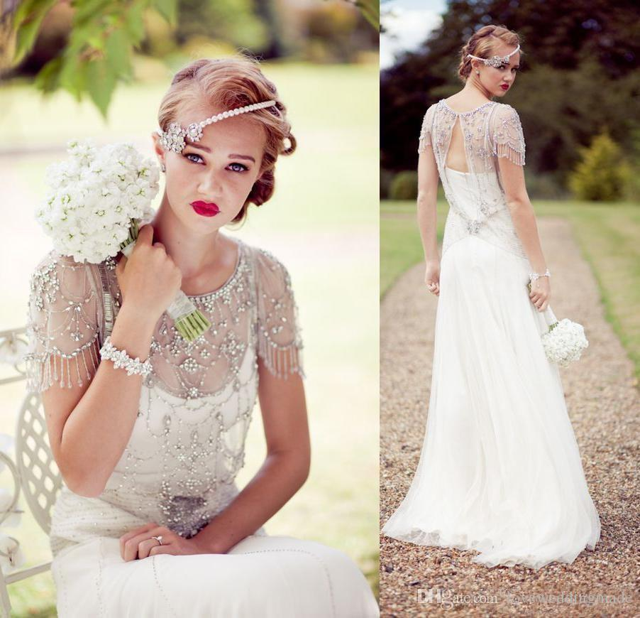 2017 Charming Bohemain Wedding Dressses Shiny Beads Crystal Jenny Packham Cap Sleeve Country Sheer Jacket Bridal Wedding Gowns Custom