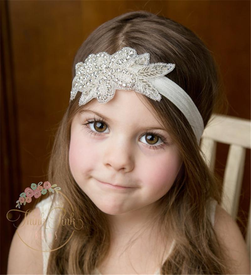 Baby Girls Headband Infant Kids Rhinestone Elastic Leaf Shape Hairband Handmade Hairbands Children Hair Accessories Party Headwear KHA221