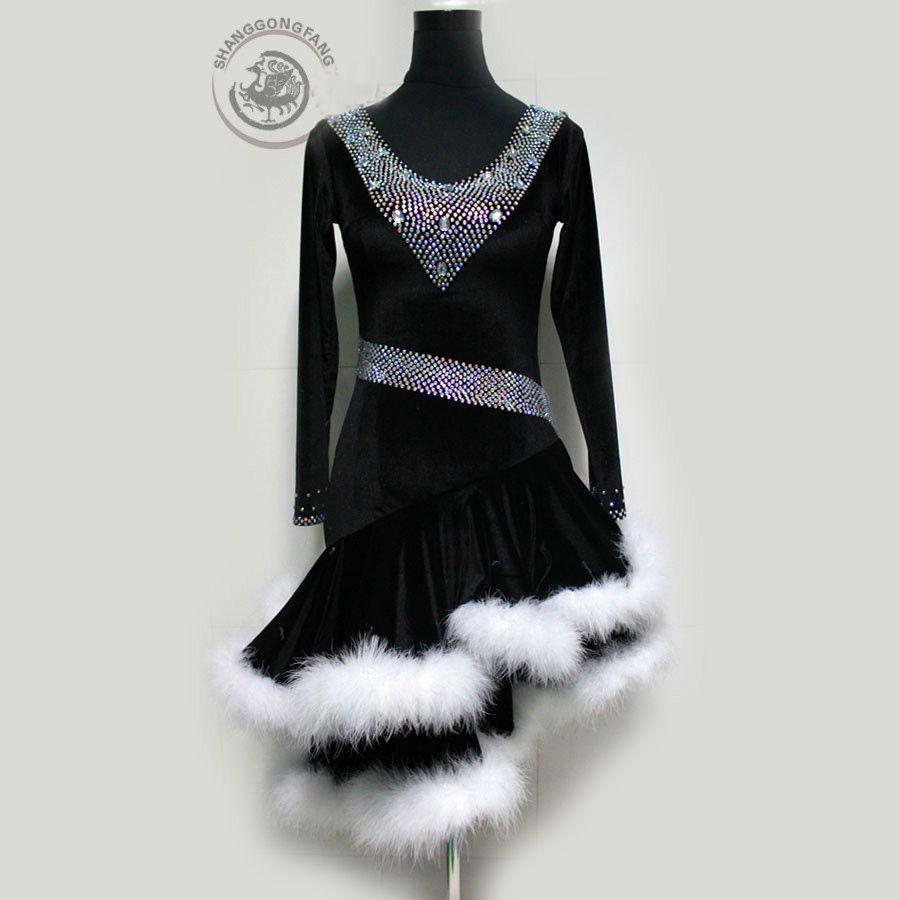 Custom Made Yetişkin / Çocuk Yeni Stil Latin Dans Kostümleri Seksi Kadınlar Için Kıdemli Taşlar Uzun Kollu Latin Dans Elbise Latin Dancewear S-4XL