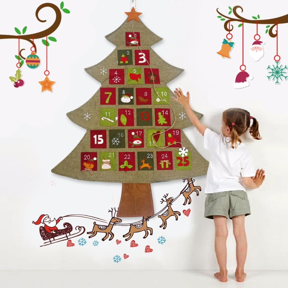 christmas advent calendar 2018 new year hanging christmas countdown calendar santa claus christmas decorations for home christmas decoration themes - Hanging Christmas Decorations
