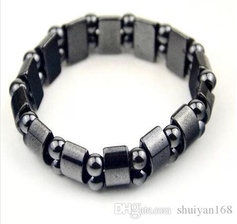 Pulseras de perlas de hematita magnética negra Moda Pulseras de perlas de hematita magnética negra para hombres mujeres Pulseras de perlas