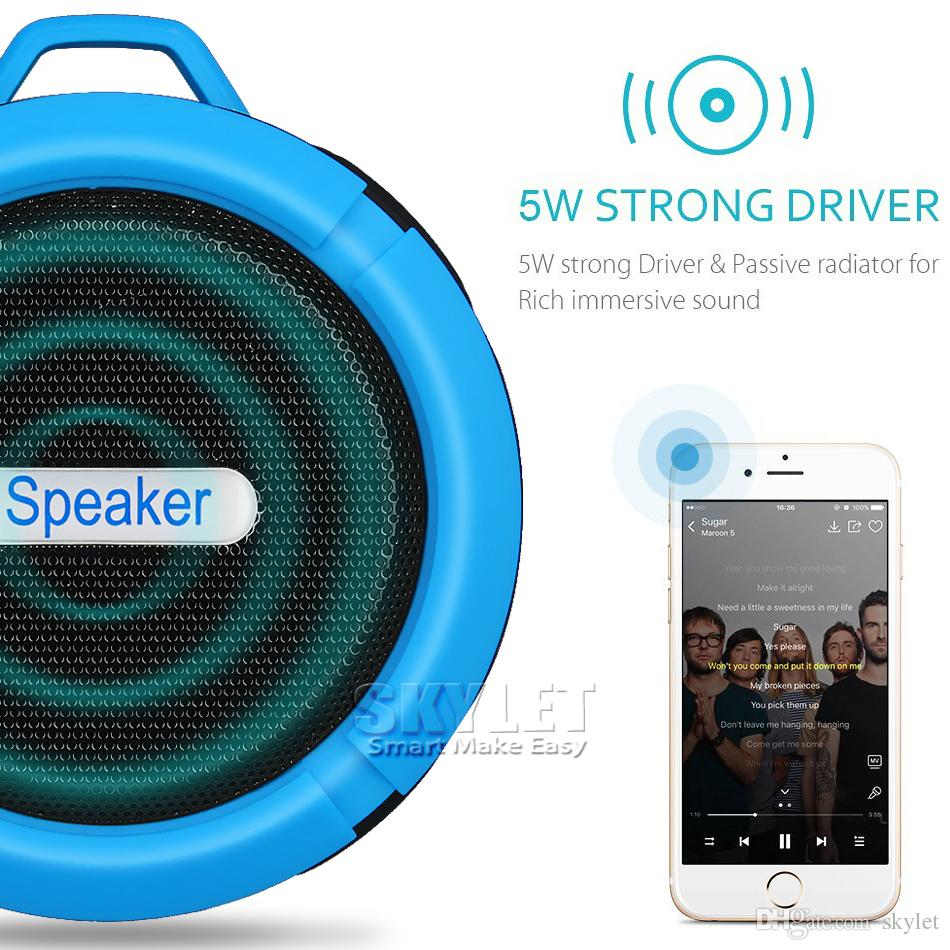 Bluetooth 3.0 Wireless Speakers Waterproof Shower C6 Speaker With 5W Strong Deiver Long Battery Life With Mic and Removable Suction Cup