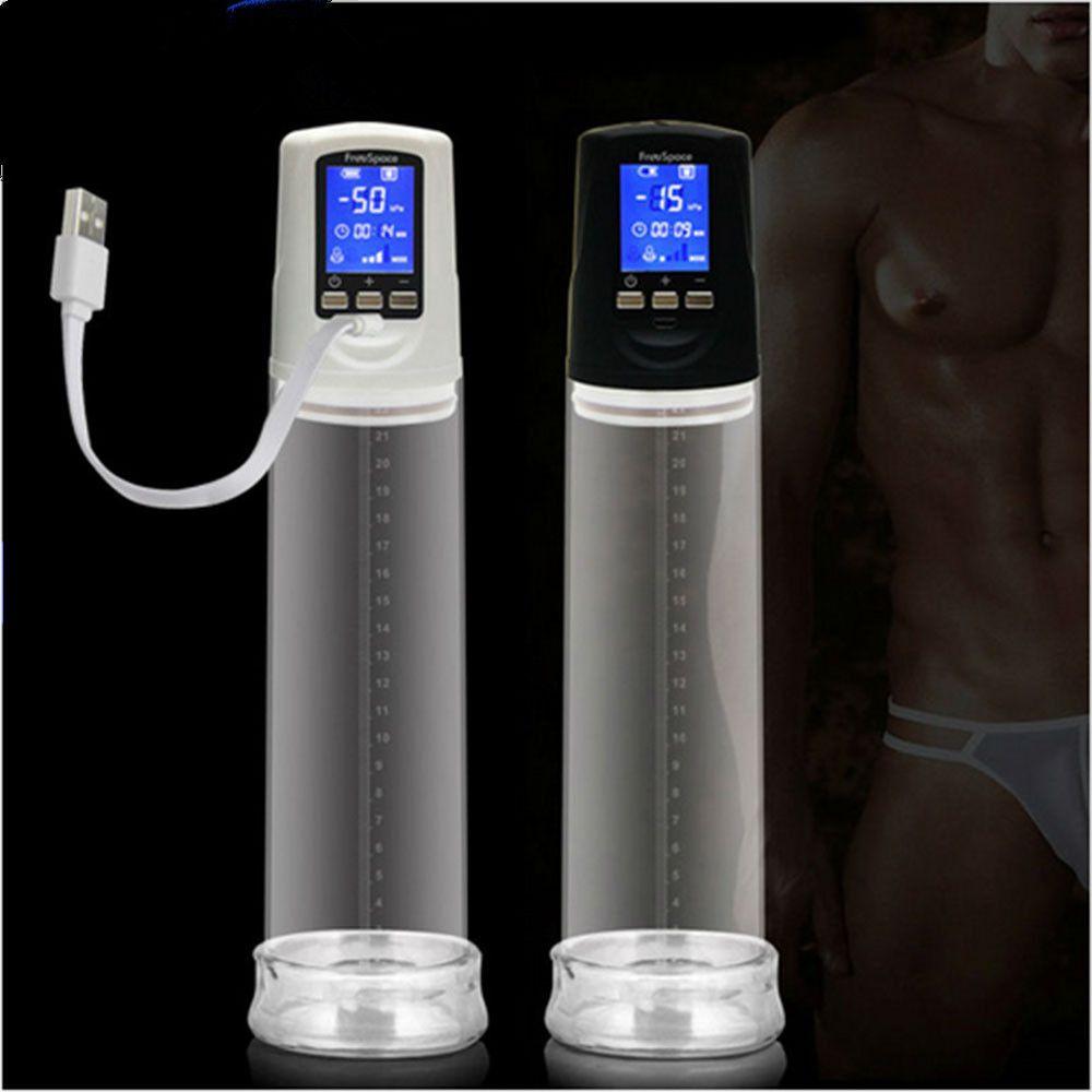 2017 nuovo maschio USB ricaricabile Ingranditore della pompa del pene, LED ingranditore automatico del pene Enhancer Gays Electric Pro Extender