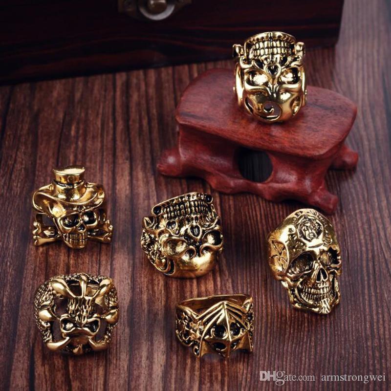 Frete Grátis Misturado Top-Quality Gothic Punk Assorted Atacado Lotes Crânio Estilo Motociclistas Vintage Tibetan Anéis