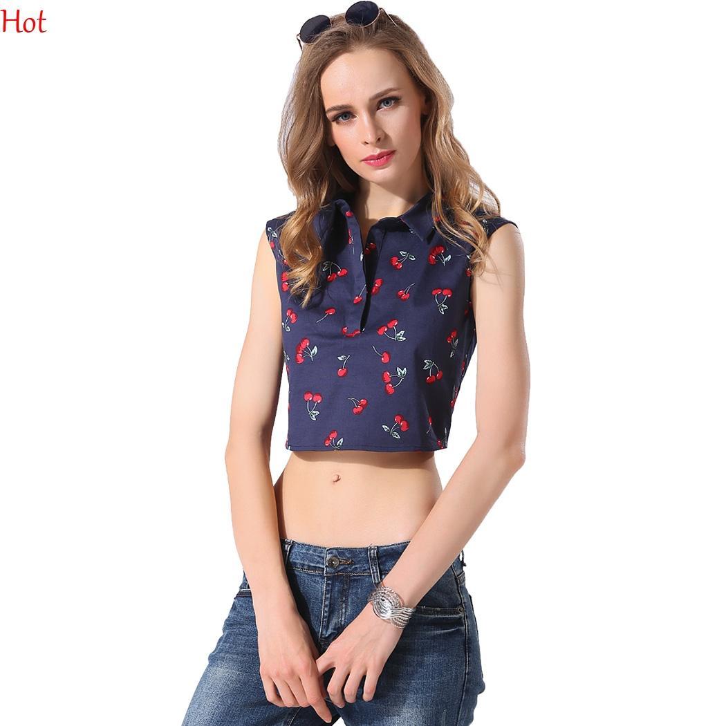 bcd4e66d6 2019 Summer Sexy Women Shirt Tees Cherry Print Crop Tops Sleeveless Turn  Down Collar Blouse Fashion Slim Vintage Shirt Blue YC000304 From  Shally_2015, ...