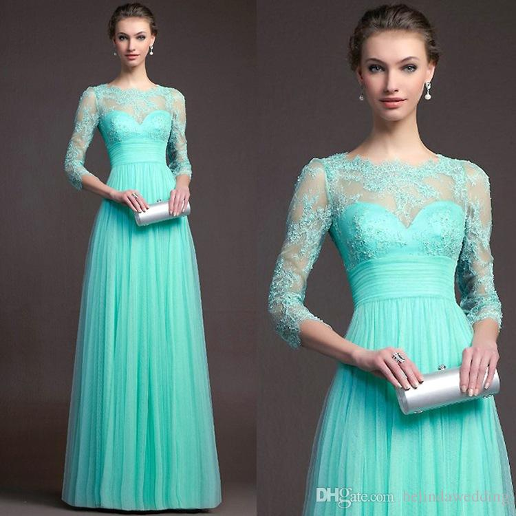 Turquoise Bridesmaid Dresses Cheap Hot Sale Long sleeves Lace Jewel Neck Evening Gowns Floor Length Formal Long Chiffon Prom Dress