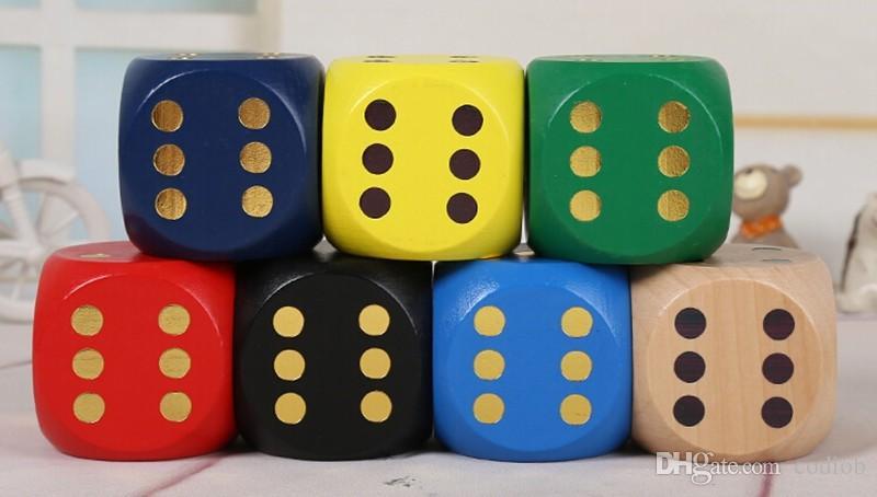 Большой размер Деревянный Dice 80мм Multi Цветной Kids Party Игры Деревянные Кубики Забавные игрушки Игры Кубики аксессуары Декоративные Новинки # S32