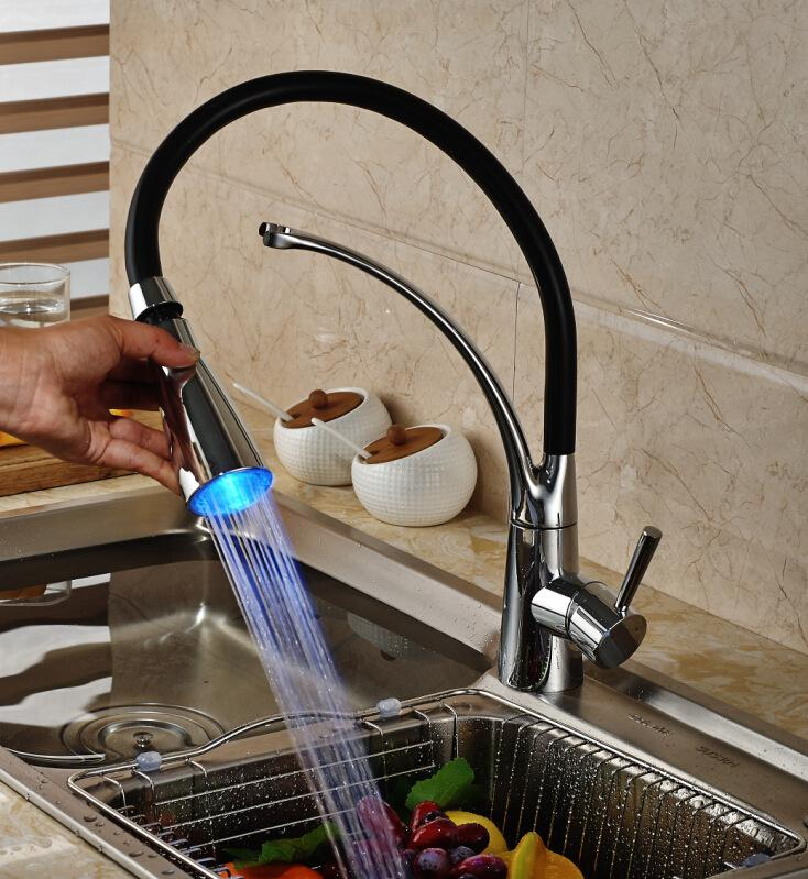 Kitchen Sink copper Faucet Deck Mount Pull Out Hot Cold Mixer Water Taps LED with lamp rotary temperature control faucet T01005
