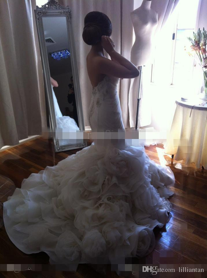new arrival Sexy Bridal Dresses Blackless mermaid straless hand flower Beaded Pnina Tornai lace 2016 long train Wedding Dresses po37