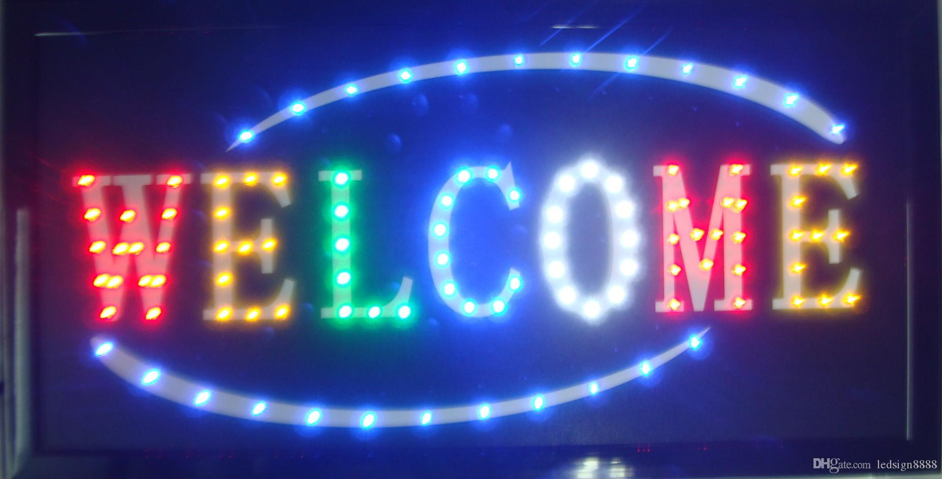 161867f6b 2019 Wholesale Business Welcome Business Shop Open Led Sign Direct Selling  10X19 Inch Semi Outdoor Led Neon Sign For Store Welcome Sign From  Ledsign8888