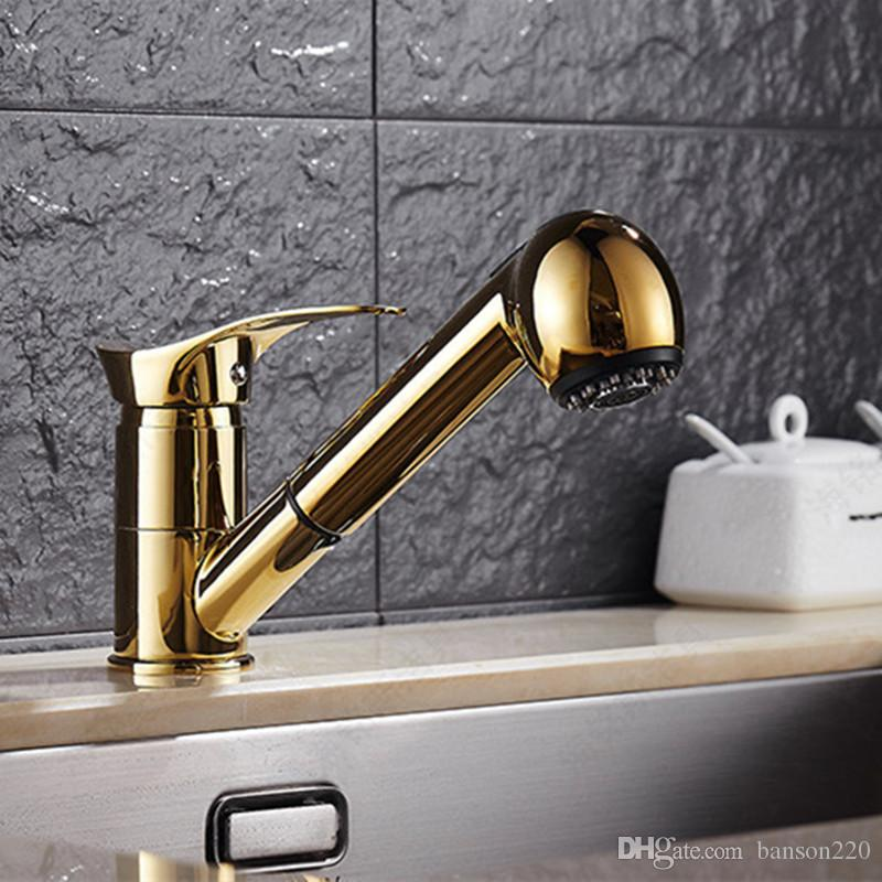 2018 Long Mouth Solid Brass Kitchen Sink Faucet With Single Handle ...