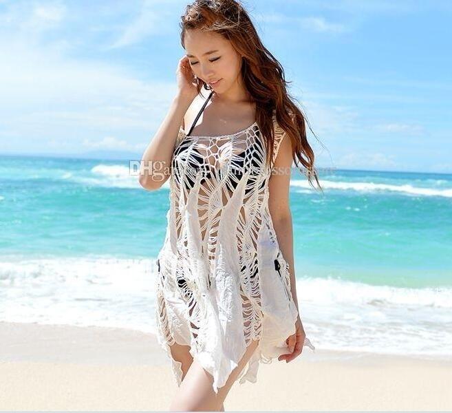 50a63ad9743bc 2019 Beach Bikini Cover Ups Swimwear Women Summer Sleeveless Dresses Lace  Crochet Hollow Irregular Blouses Sexy Holiday Swimsuit Sunscreen Shirts  From ...