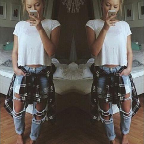 2015081401 2015 New Fashion jeans femme Bleu clair Solide Nouveauté Skinny Pleine longueur déchirée