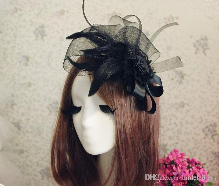 2018 Ladies Elegant Wedding Hair Accessories Bridal Fascinator Cocktail Hat for Party New Veil Black White Headdress
