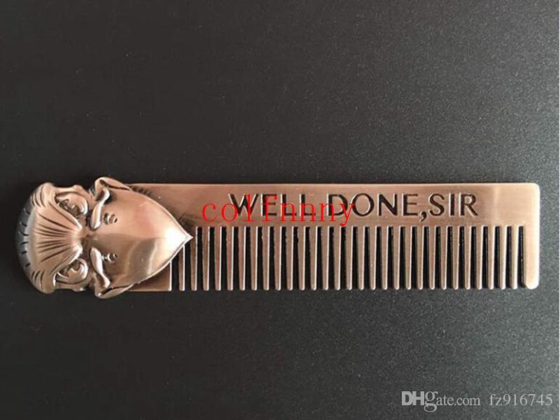 Barbe style modèle / expédition rapide hommes peigne outil peigne en acier inoxydable corbeau entendu en forme