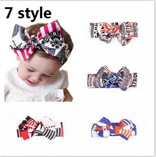 15% off! Wholesale Fashion nation Flag Bowknot Headband Head Wrap Hair Band Elastic for Child Women Girls bow headband 7 style 30pcs/lot