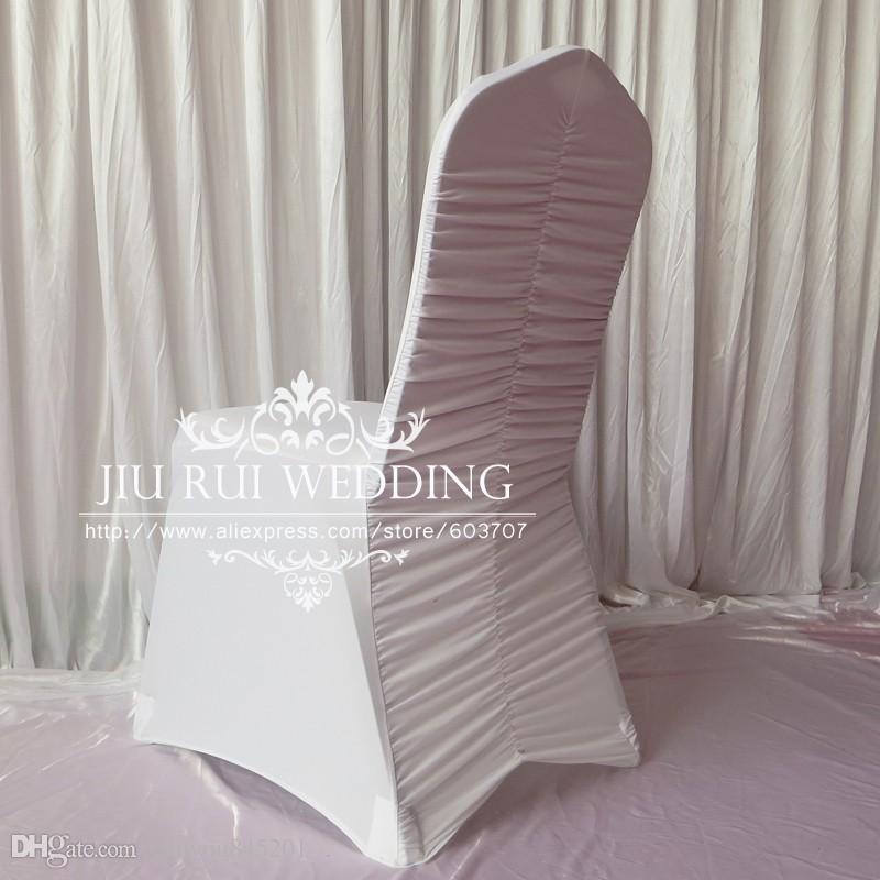 White Pleated/Ruffled Back Spandex Lycra Banquet Chair Cover A For Wedding Party Hotel Decoration