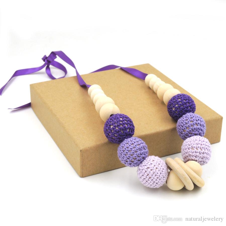 Fade Purple Lilac pink crochet teething toy,wood beads Wooden baby toy baby teething necklace EN22