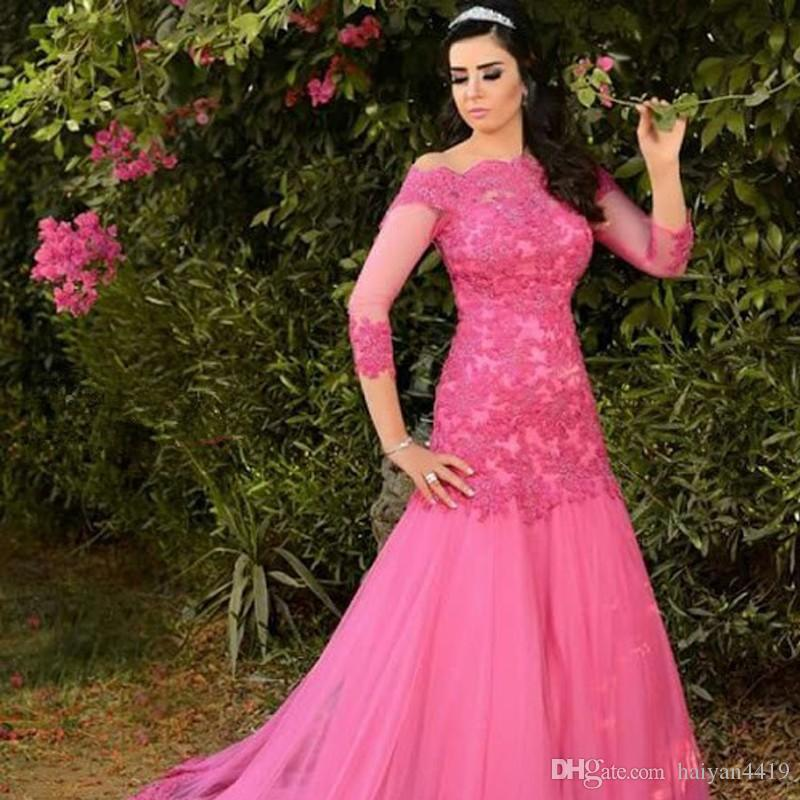 2017 Elegent Women Off Shoulder Evening wear Dresses Long Sleeves Arabia Fuchsia Chiffon Lace Appliques Plus Size Cheap Party Prom Gowns