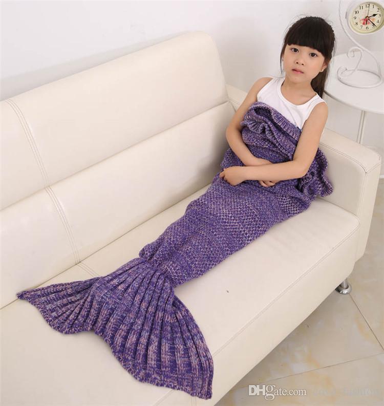 Hot Kids Crochet Mermaid Tail Mantas Handmade Mermaid Tail Knit Sofa Nap Mantas Traje Cocoon 140 * 70 cm