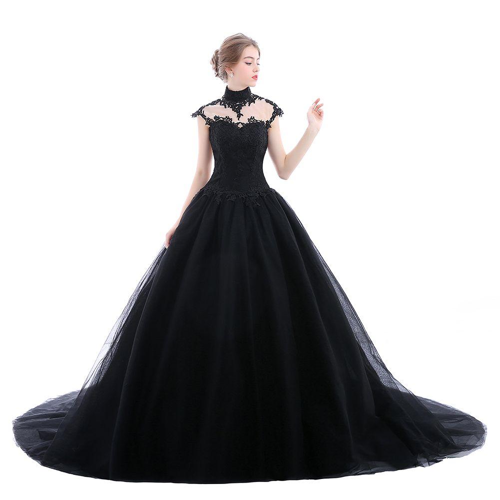 Gothic Wedding Gown: Elegant Black Gothic Wedding Dresses Applique Lace Tulle