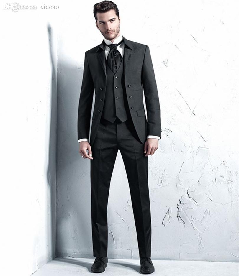 2028a5b3cb146 2019 Wholesale Latest Coat Pant Designs Men Suit Tuxedo Mens Suits Three  Piece Suit Black 2016 From Xiacao