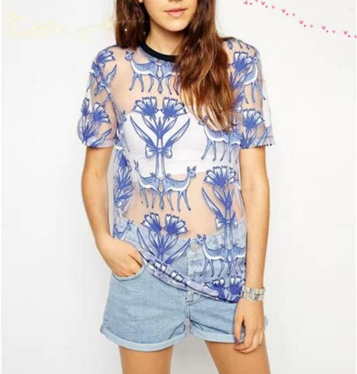 2016 Spring Summer New And Suit-dress Lovely Fawn Printing Transparent Short Sleeve T Pity Pullover Jacket Woman Plus Size Rabbit Bear