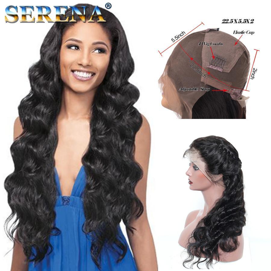 Pelucas llenas del cabello humano del cordón 8A para las mujeres negras Pelucas llenas brasileñas del cordón Pelucas onduladas superiores del cabello humano del frente del cordón de Glueless de seda