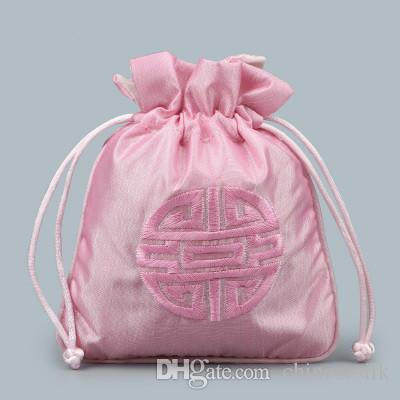 Small Satin Fabric Embroidery Joyous Drawstring Bags Chinese style Jewellery Gift Bags Packaging Pouch Lavender Sachet Perfume Storage Bag