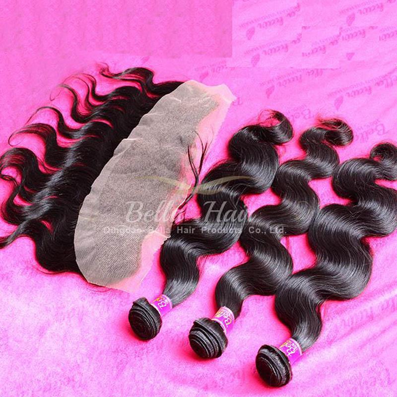 Peruwiański koronki czołowe ludzkie wiązki włosów ciała fala nieprzetworzona włosy 4 sztuk dużo naturalny kolor 10-34 cal Darmowa wysyłka