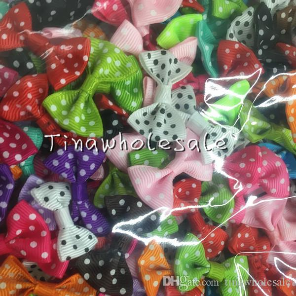 3.5*2.5cm Dots Mini Fashion Boutique Ribbon Bow For Hair Hairpin headband accessories special offer can't choose color