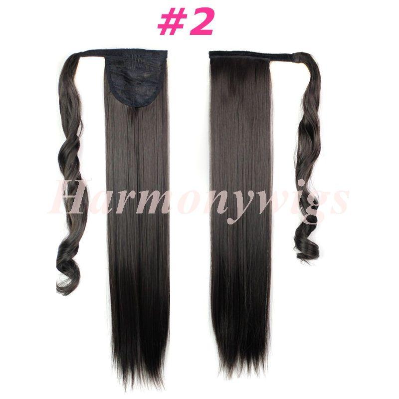 Sentetik at kuyruğu klip Saç uzantıları midilli kuyruk 24 inç 120g Sentetik düz saç parçaları daha fazla 13 renk isteğe bağlı