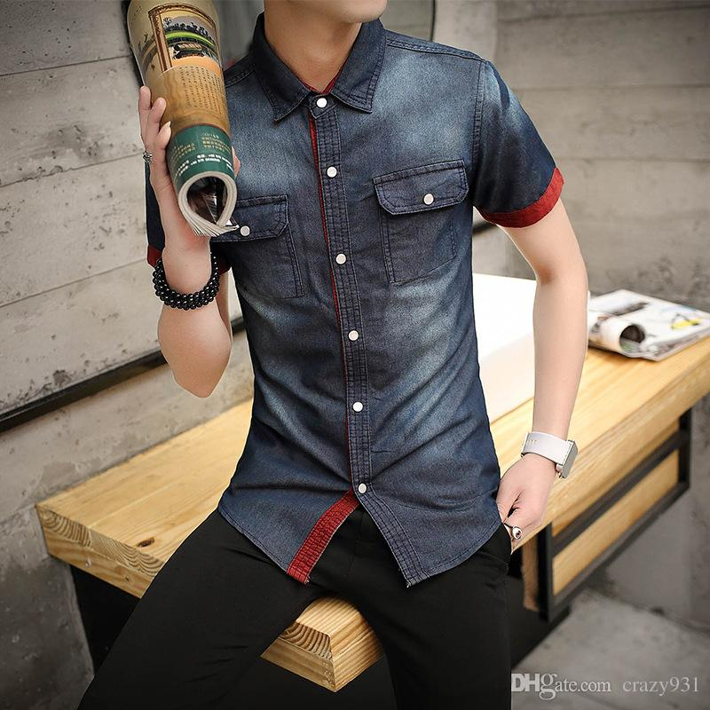 7162a12456 2019 Men S Denim Shirts Short Sleeve Slim Fit Casual Mens Cowboy Shirts  Youth Fashion Europe Street Style Cotton Shirts Man From Crazy931
