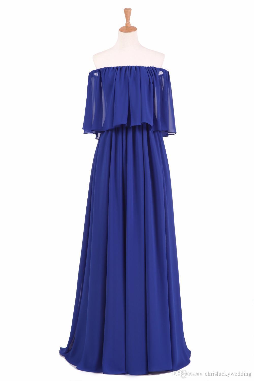 Royal Blue Bridesmaid Dress Off-Shoulder Zipper Back Chiffon Bohemia Style Plus Size Wedding Guest Dress Formal Party Prom Gown Cheap