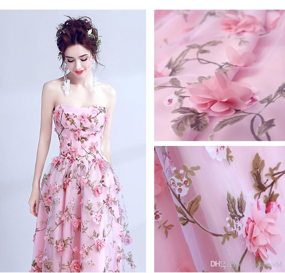 Caminar al lado de usted flores rosadas vestidos de baile 2017 Vestido largo de novia sin tirantes vestido de formatura longo fiesta de Halloween
