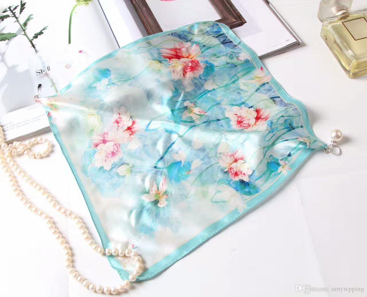 Inci boyun bandı 2 renk ile 100% gerçek saf ipek kare eşarp kutu baskı tarzı ile mavi çiçek baskı ile