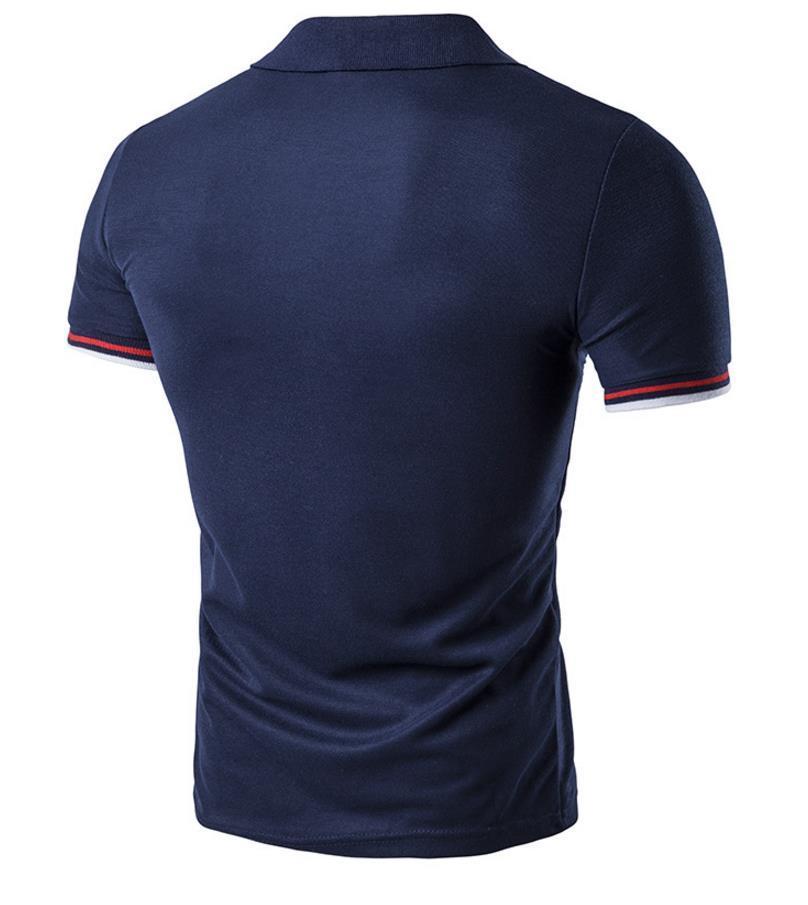 Polos Tee Shirts Hombres 2018 Patch diseño de rayas Pullover Manga corta Color sólido Para hombre Sport Polo Shirts Envío gratis algodón breve elegante 2017