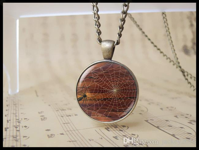 Hallowmas Day Spider Web Pendant Jewelry Spider Charm Neckalce Halloween Day Gift for Boy Girl T1106