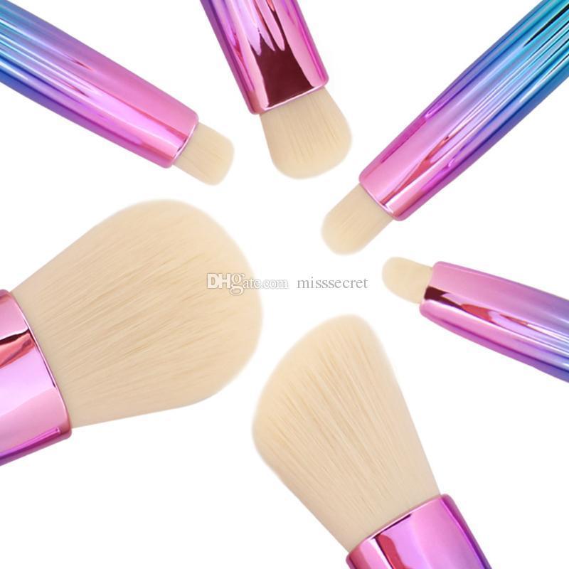 Блеск макияж кисти наборы Shell ручка Фонд тени для век смешивания порошок контур румяна косметика кисть розовый синий макияж кисти инструменты