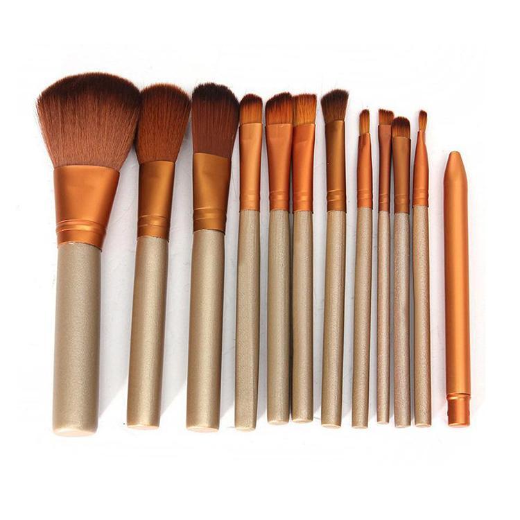 Pincéis de maquiagem quente 12 peças Kit de escova de maquiagem profissional Kit com caixa de ferro