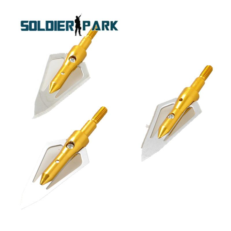 3pcs/lot Archery Hunting Battle 100 Grain 2-blade Broadheads Shooting Arrow for Bow Arrows 100 Grain Broadheads Archery Gold order<$18no tra